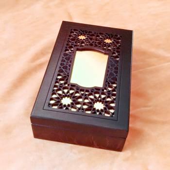Dekoratif İşlemeli Aynalı Kapaklı Ahşap Kutu