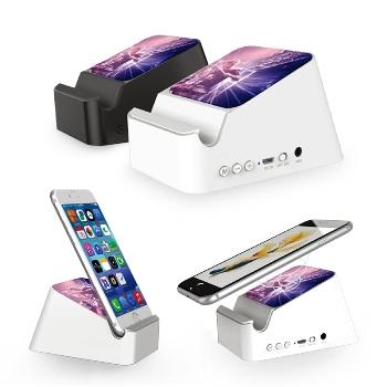 Bluetooth Hoparlör ve Kablosuz Şarj Özellikli Stand